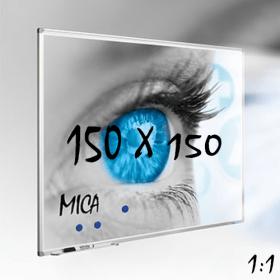 Mica projectiebord / whiteboard 150x150 cm - 1:1