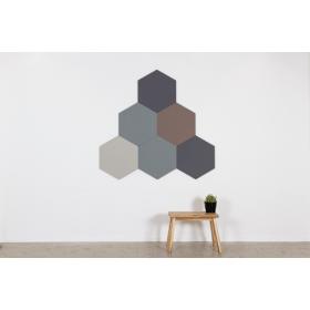 Design prikbord zeshoek - kleur 2182 - grijs/bruin