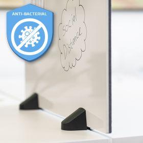 Scheidingsscherm combi whiteboard / prikbord - Incl. bureauklemmen voor dubbel bureau - 58x75 cm