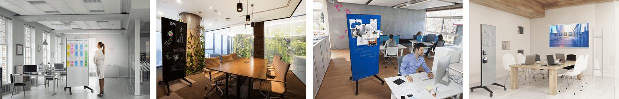 mobiel glassboard voor kantoren en werkplekken